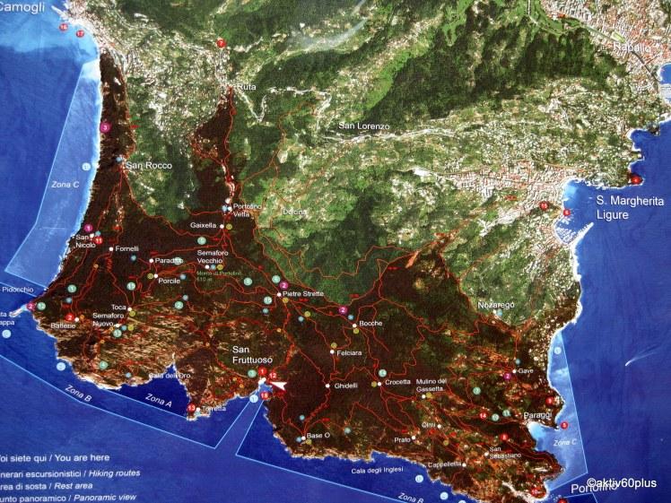 Das Wandergebiet Camoglie bis  Portofino